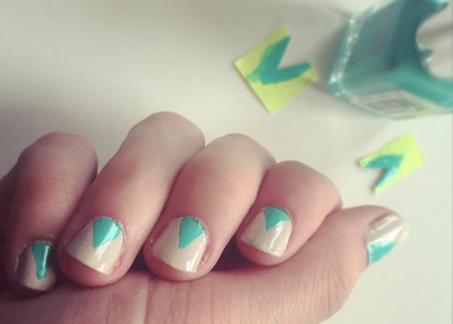 Cream nail mint triangle base nail art