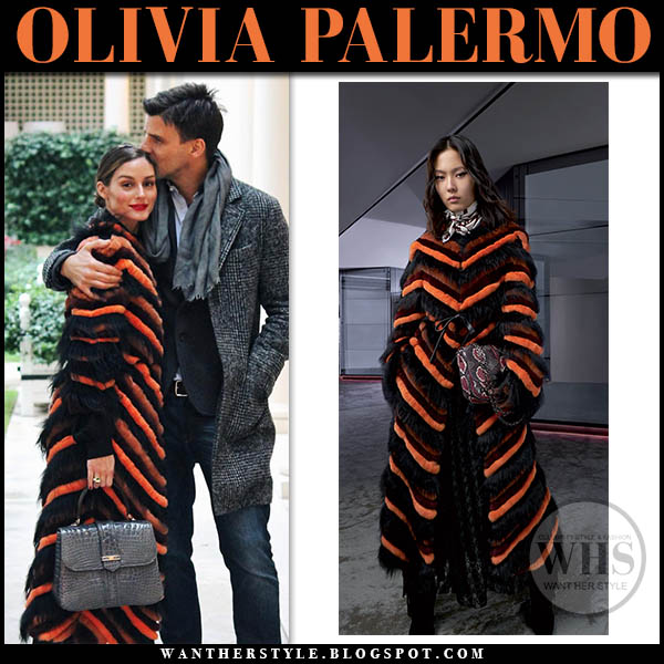Olivia Palermo in orange and black striped longchamp fur coat winter style january 2019