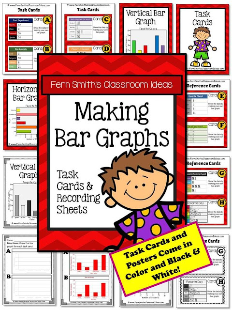 Fern Smith's Classroom Ideas Making Bar Graphs Task Cards without Common Core at TeachersPayTeachers.