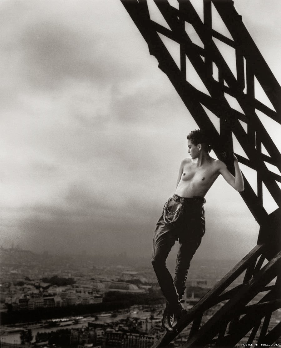 Peter Lindbergh Mathilde on the Eiffel Tower for Rolling Stone magazine, 1989