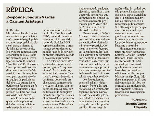 """MVS demanda a Aristegui por """"dañar prestigio"""""""