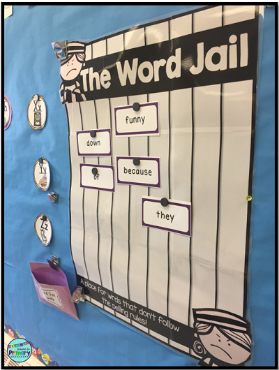 """First grade teacher Christina Hermer is a big proponent of word walls. See how she introduces the words and incorporates a """"word jail"""" and the """"dog house"""""""