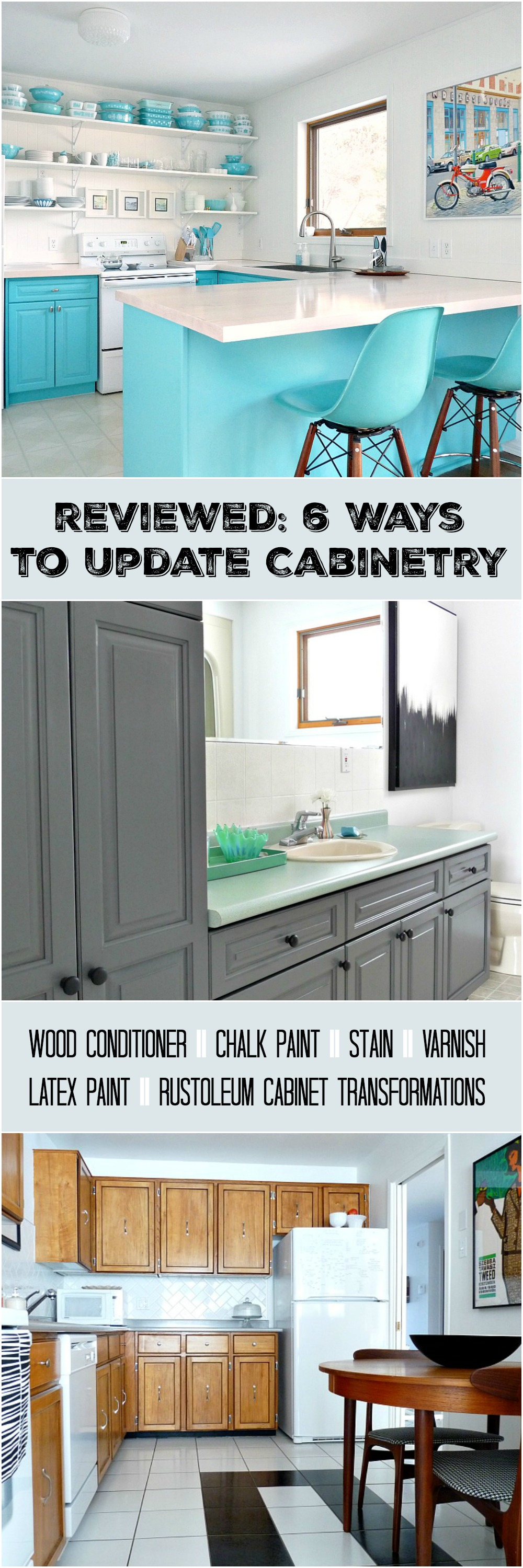 Cabinet Refinishing 101: Latex Paint vs. Stain vs. Rust-Oleum Cabinet Transformations vs. Varnish vs. Chalk Paint vs. Wood Conditioner