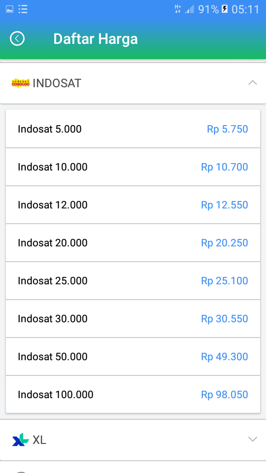 Daftar Harga Agen Pulsa Termurah Indosat