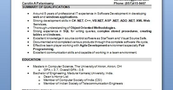 Experienced Software Engineer Resume Format In Word Free
