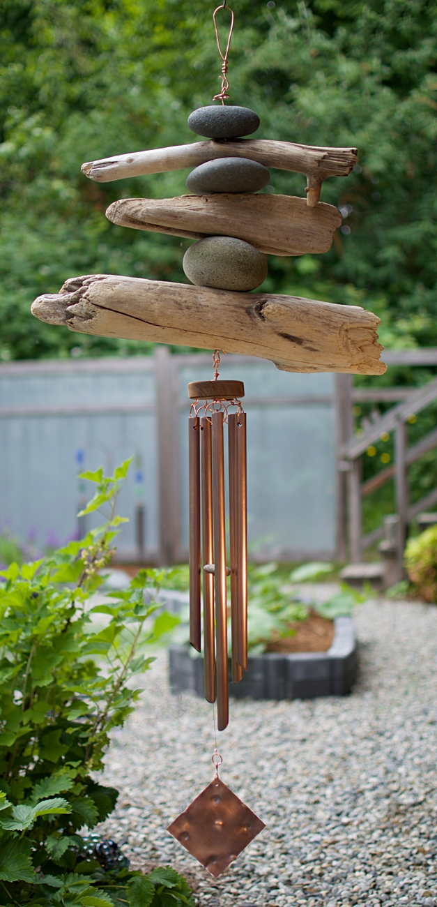 Coast Chimes beach stones and driftwood large outdoor wind chime