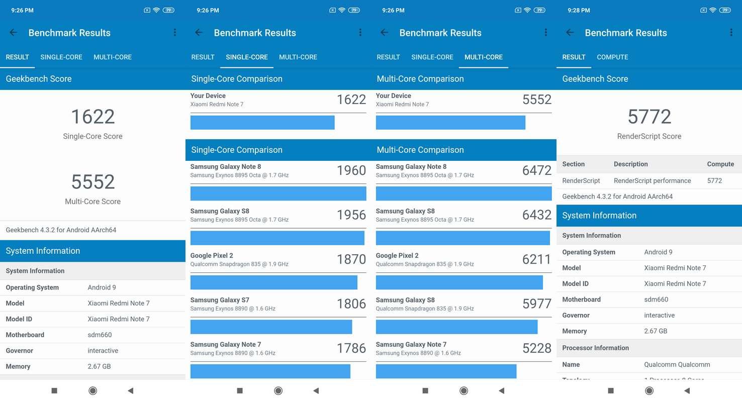 Benchmark Geekbench 4 Xiaomi Redmi Note 7