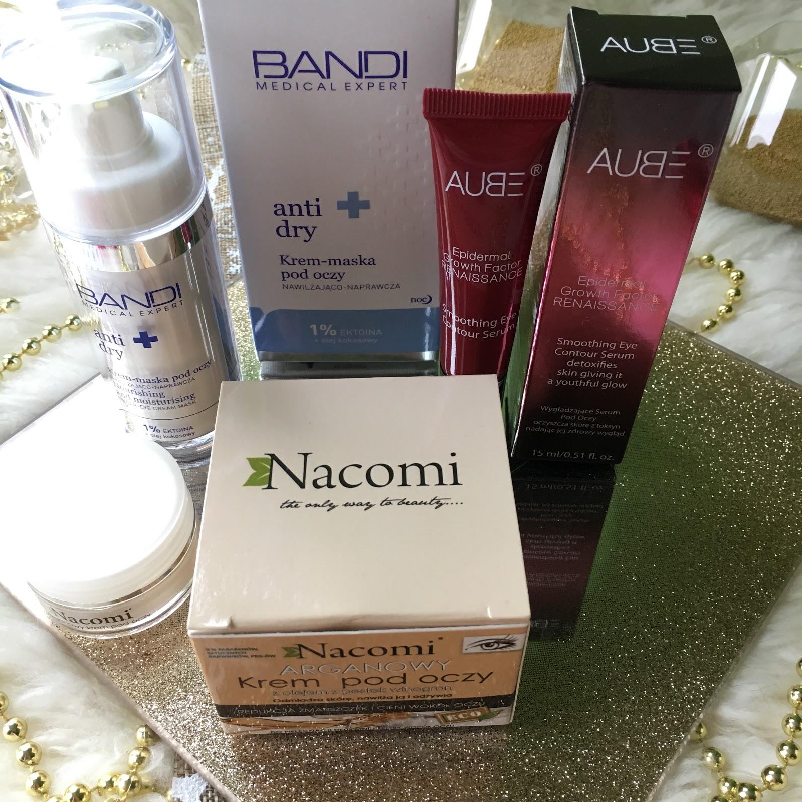 3 produkty, czyli mini recenzje kremów pod oczy z Aube, Bandi oraz Nacomi.
