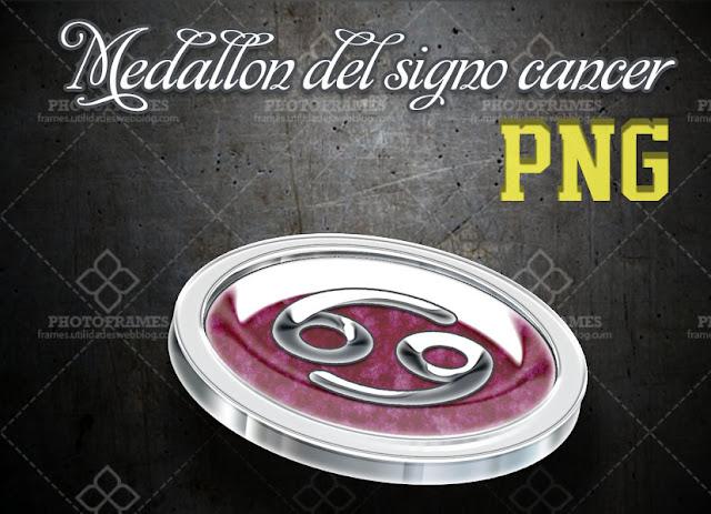 Medallón del signo zodiacal cancer en png con fondo transparente