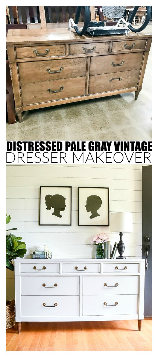 Vintage Century dresser makeover before and after