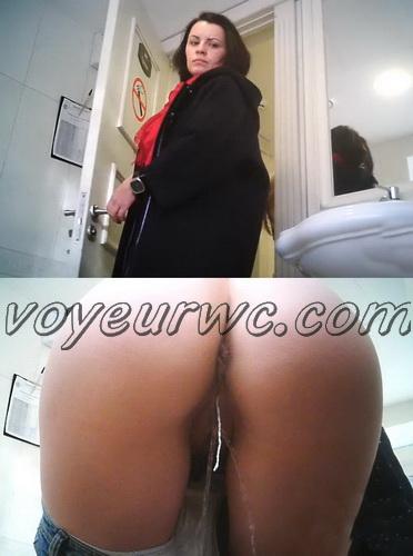 WC 2497-2501 (Girls peeing on hidden voyeur camera: Pissing in the toilet of public restaurant)
