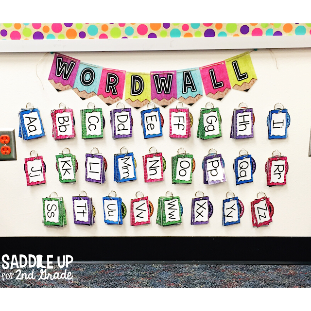 The blog posts features a tour of my 2nd grade classroom with a burlap and bright theme! My interactive word wall is one of my favorite classroom tools.