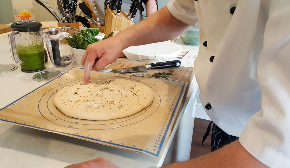 Making Holes in Focaccia Dough