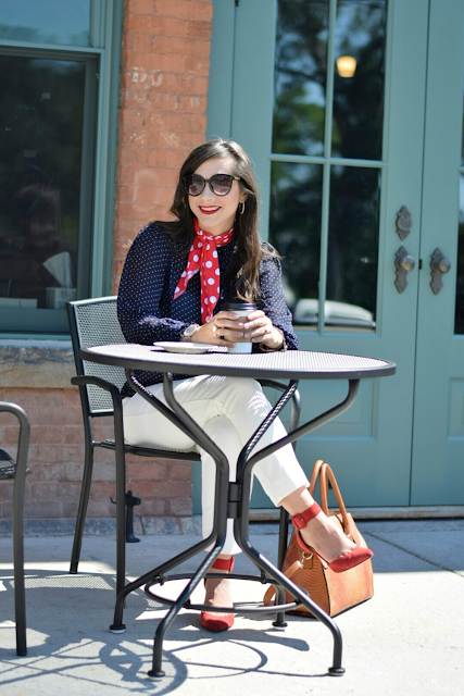 Teacher outfit: Navy and Red Polka Dots with Cat Eye Sunglasses