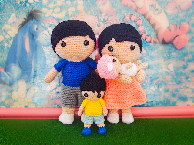 crocheted family of four amigurumi
