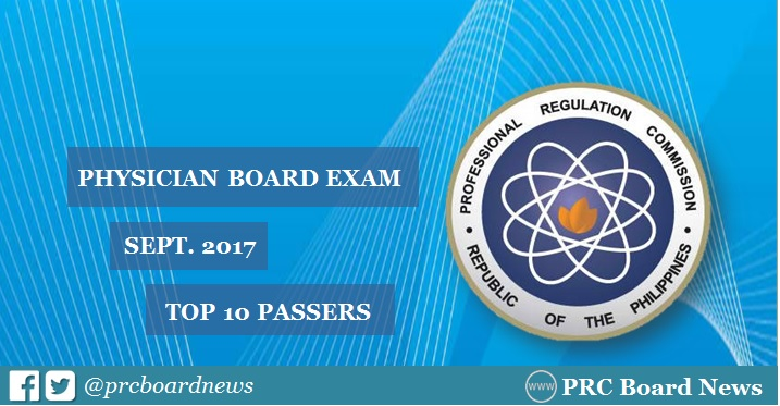 topnotcher for September 2017 Physician licensure exam