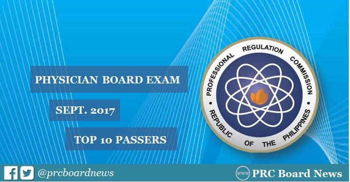 topnotcher for September 2017 Physician licensure exam