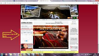 Ingressos para Machu Picchu e Montanhas - 4. Selecionar o dia 22 de Junho