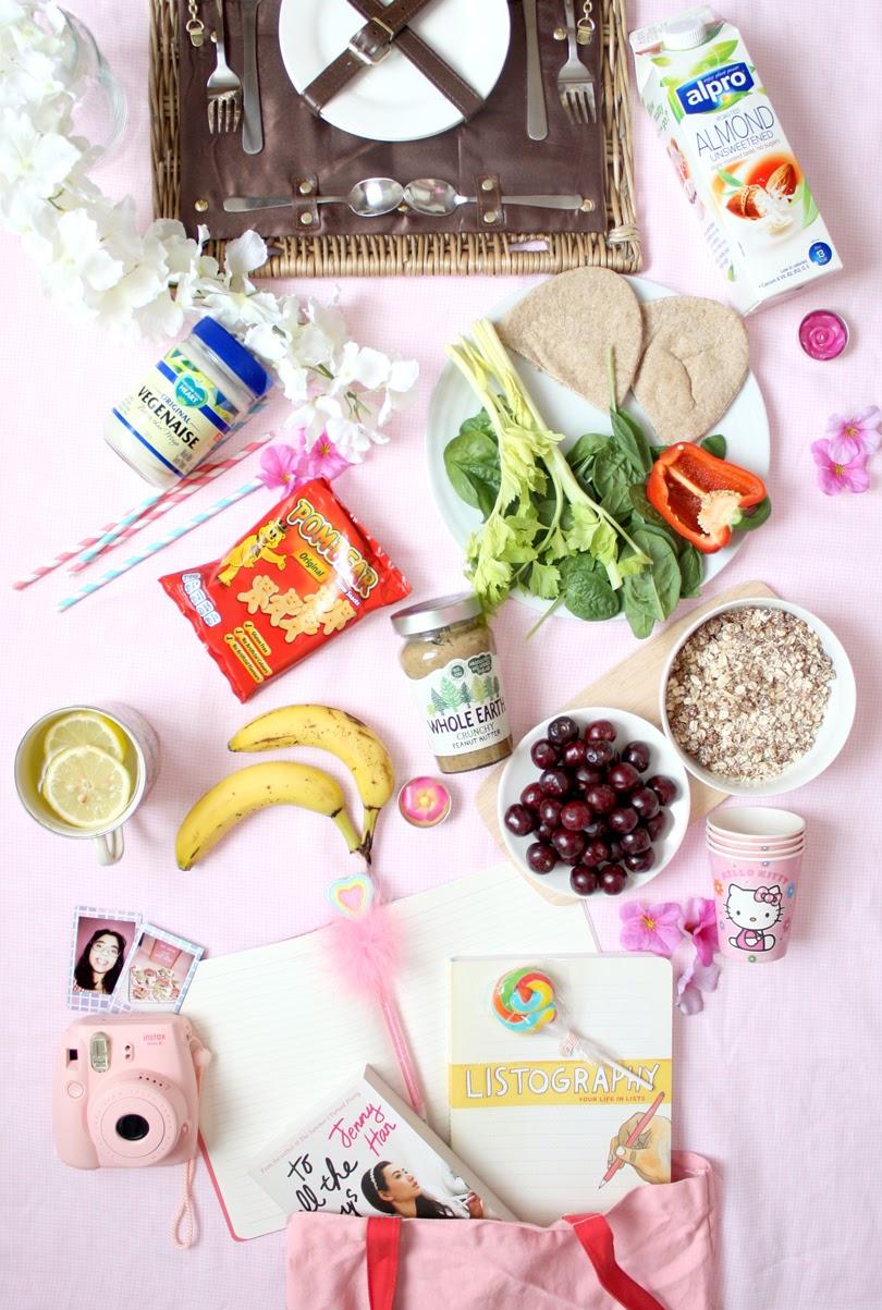 healthy picnic flatlay