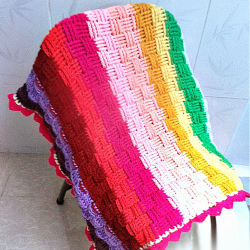 Woven Rainbow Baby Blanket - Free Pattern