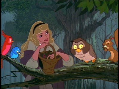Aurora in forest in Sleeping Beauty 1959 animatedfilmreviews.filminspector.com