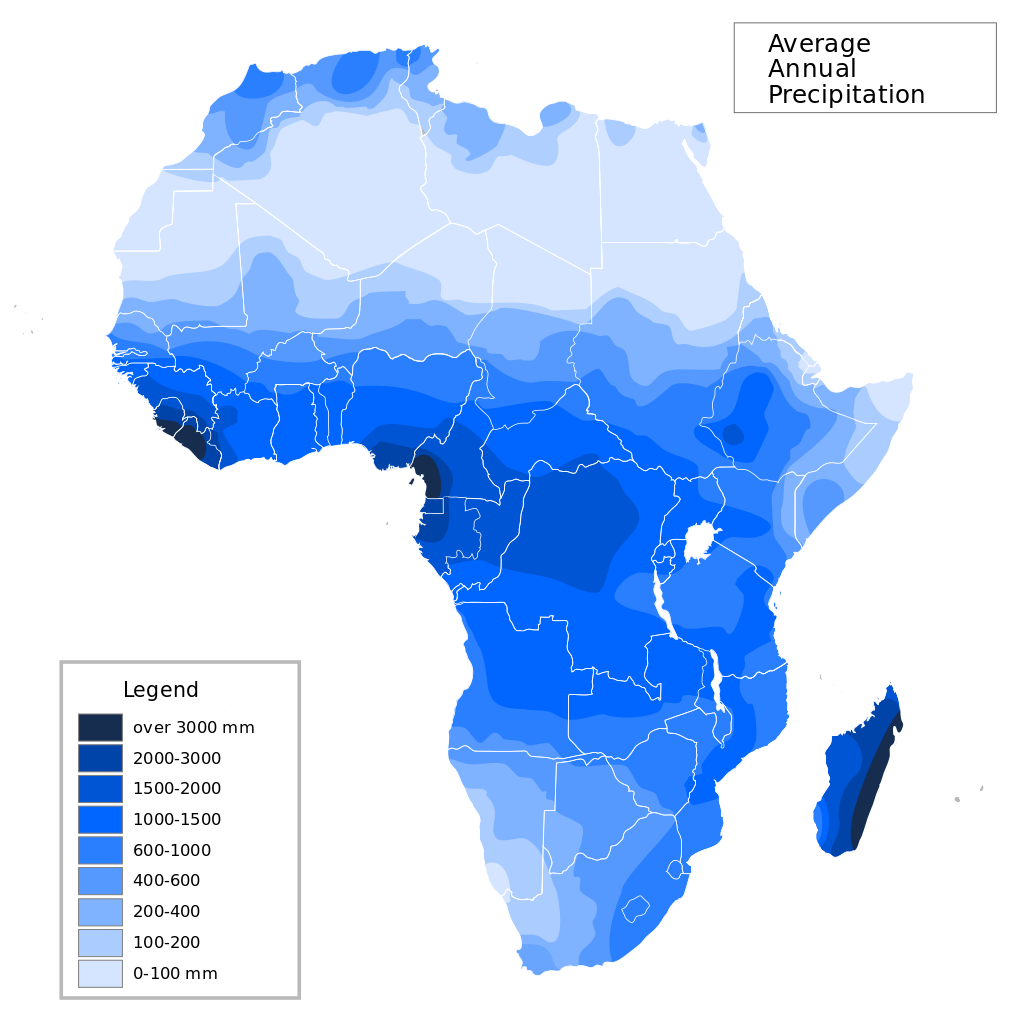 Average annual precipitation in Africa