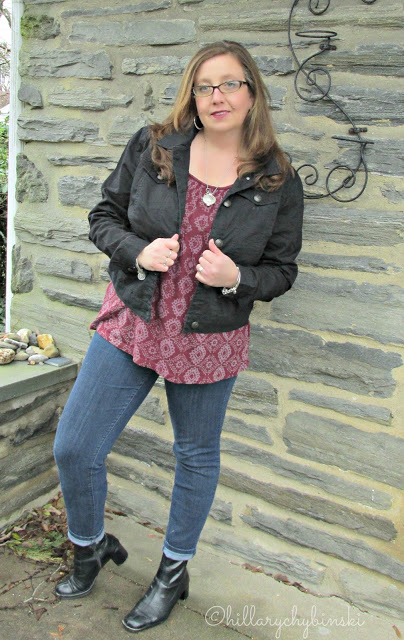 Spring Jacket styled with a boho-chic peasant blouse, jeans and boots.