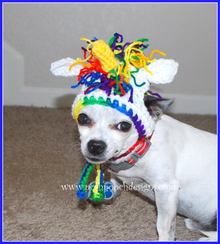 Posh Pooch Designs Dog Clothes Rainbow Unicorn Dog Hat Crochet