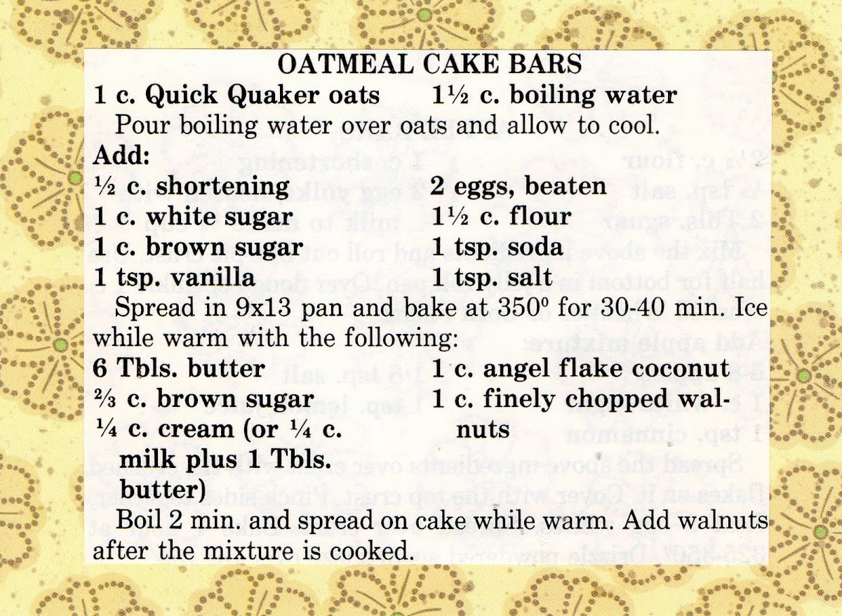 Oatmeal Cake Bars (quick recipe)
