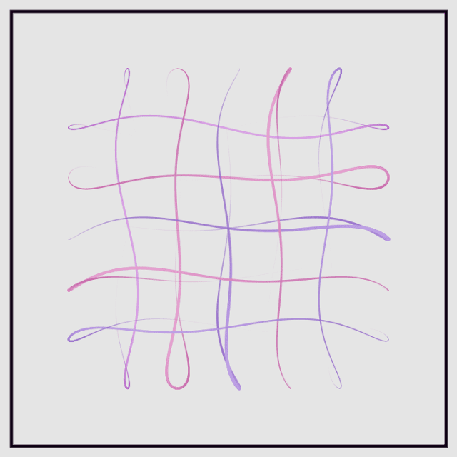 Generative art that symbolizes swinging ribbons with blowing wind.