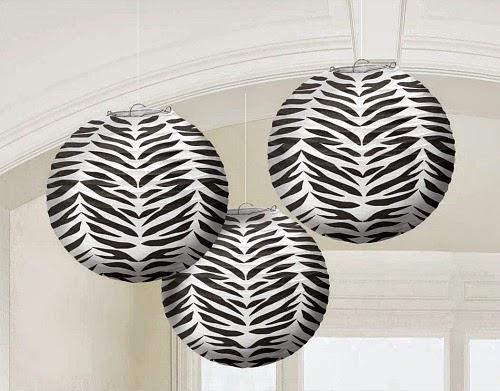 Zebra Print Paper Hanging Lanterns