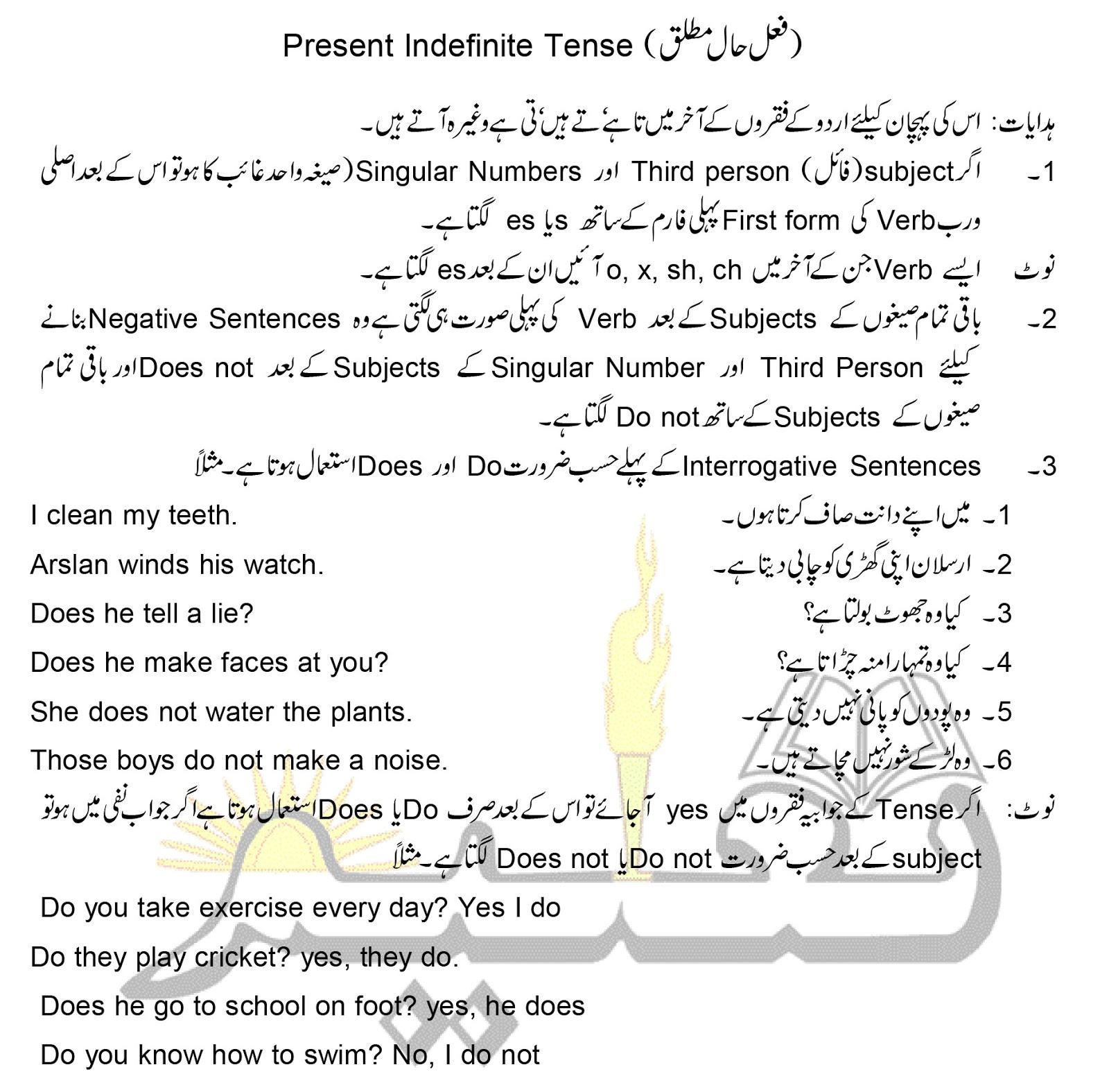 Online Taleem: Present Indefinite Tense