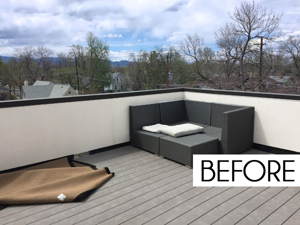 Roof deck furniture Rooftop Bar But This Rooftop Deck Clearly Has Tons Of Potential It Just Needs Little Vision Comfy Furniture And Some Vibrant Color To Turn It Into The Coolest Spot Blue Style Decorating With Style Designing Colorful Rooftop Deck Blue