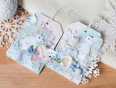 бумага Фабрика декора Smile of Winter, теги с зайками нежные милые ажурные