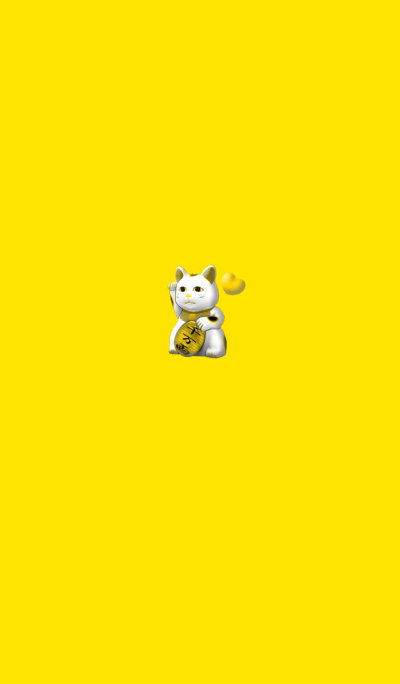 Absolute gold luck invitation cat Yellow
