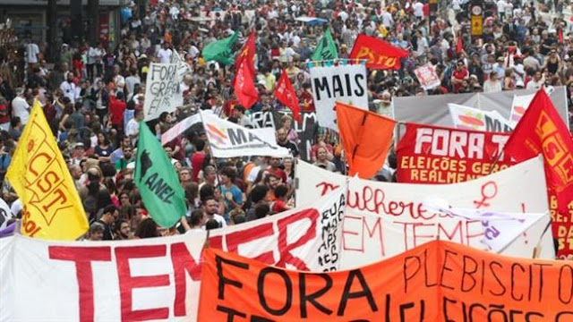 Pro-Rousseff demonstrators protesting hit 40 cities across Brazil against President Michel Temer in Sao Paulo