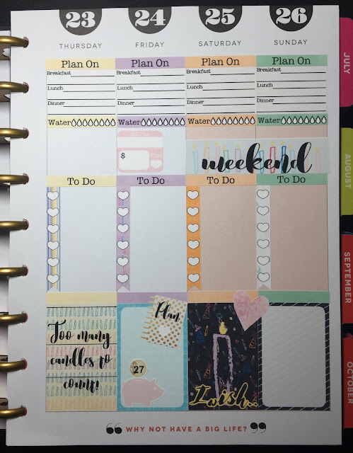 Right Side of my weekly spread in my Happy Planner using the free Birthday 3 Sampler from myplannerenvy.com