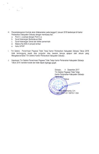 Lowongan Kerja Tingkat SMA PTT Badan Pertanahan Nasional Besar Besaran