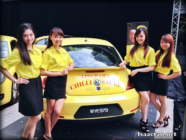 Pretty ladies showcasing the cars to the public at the launch