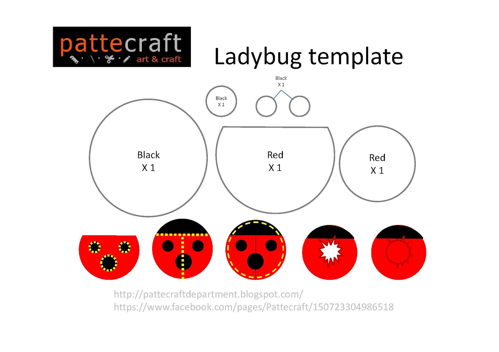 Pattecraft Give Away Ladybug Template
