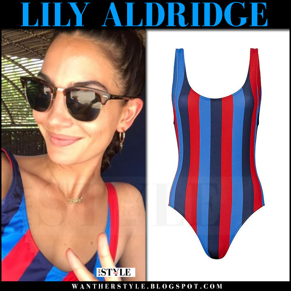 Lily Aldridge in stripe red and blue swimsuit solid and striped may 31 2017 what she wore