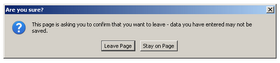 Browser Confirmation Dialog when leaving page