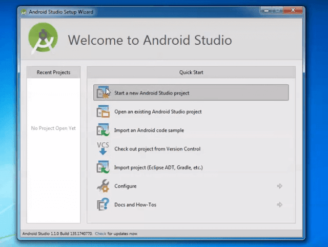 Select New Android Studio Project to start with