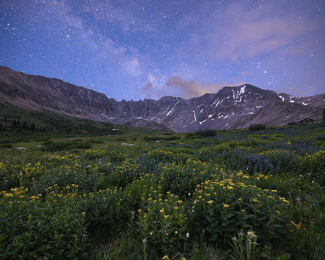Trip Report of mayflower Gulch with wildflowers and Milky Way and old Mining Cabins near Leadville Colorado