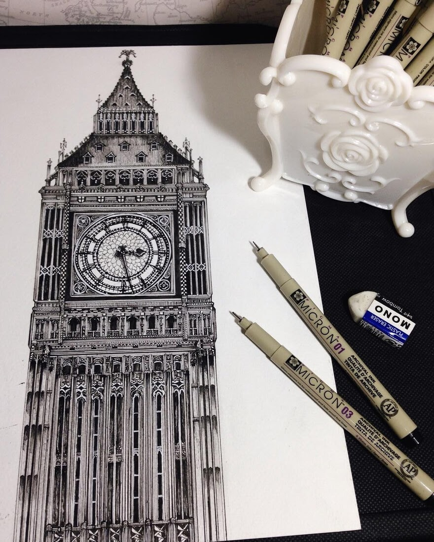 06-Big-Ben-London-UK-Emi-Nakajima-Detailed-Architectural-Drawings-Real-and-Imaginary-www-designstack-co