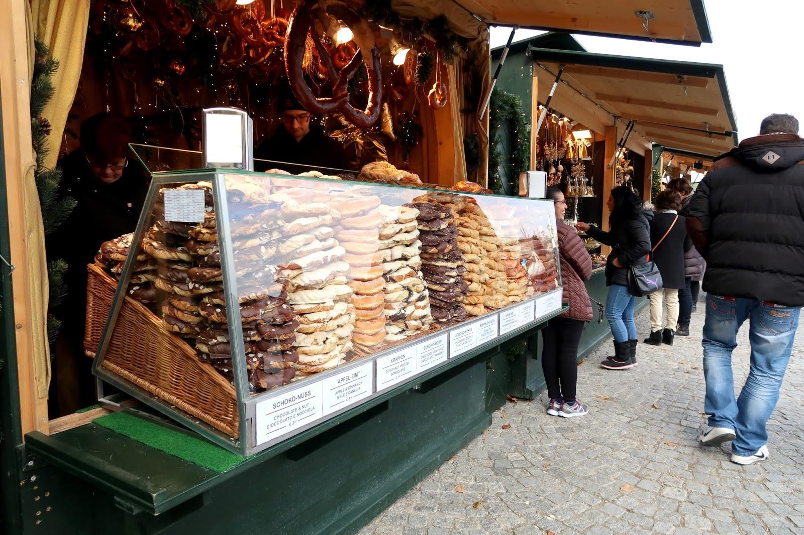 giant pretzel stand in Vienna christmas markets