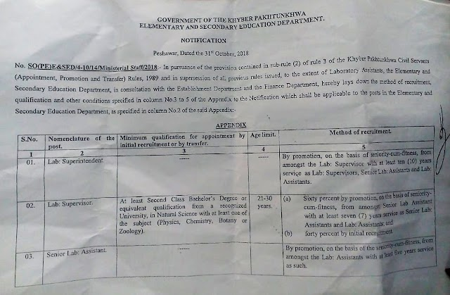 NOTIFICATION OF SERVICE STRUCTURE OF LABORATORY ASSISTANTS OF SCHOOLS