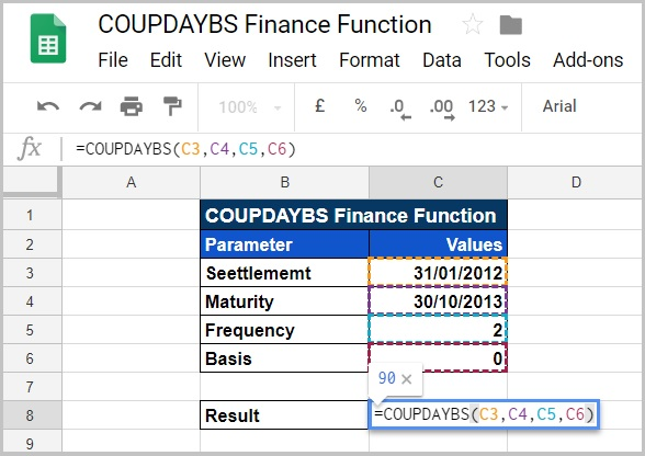 COUPDAYBS Finance Function