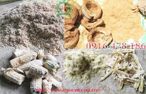Các phụ phẩm đã được nghiền nhỏ bằng Máy băm nghiền vỏ dừa, gỗ tạp, rơm rạ 3A15Kw