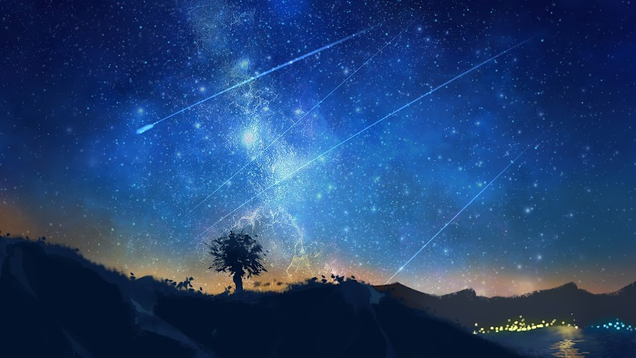 Shooting Stars Night Sky Anime 4k 3840x2160 Wallpaper 38